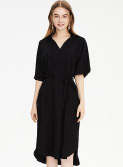 Half Sleeve Short Front Long Back Wrap Dress