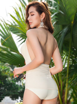 Sexy Halter Neck Backless Ruched One Piece Swimwear