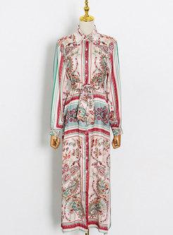 Satin Single-breasted Ethnic Print Maxi Dress