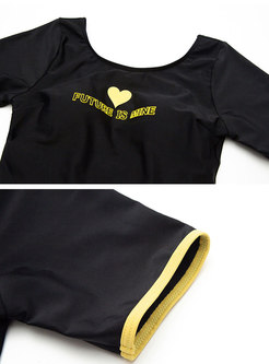 Black Letter Print Backless One Piece Swimwear
