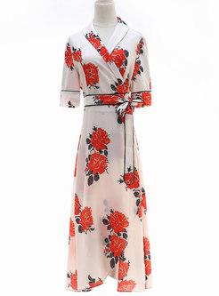Flower Print Lapel Half Sleeve Wrap Dress