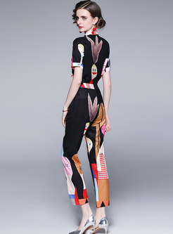 Short Sleeve Print Blouse & High Waisted Pant Suits