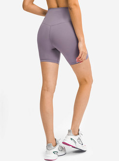 High Waisted Breathable Solid Sports Shorts