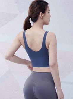 V-neck Backless Shockproof Tight Yoga Top