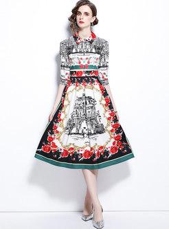 Retro Half Sleeve Print A Line Pleated Midi Dress