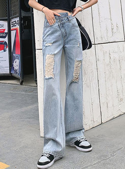 Light Blue High Waisted Straight Ripped Jeans