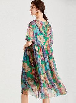 Casual Hooded Plus Size Print Chiffon Shift Dress