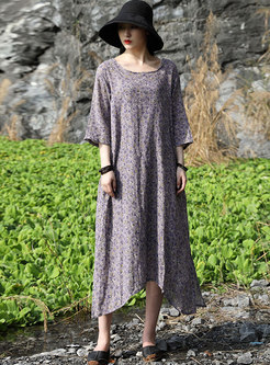 Retro Print Plus Size Shift Midi Dress