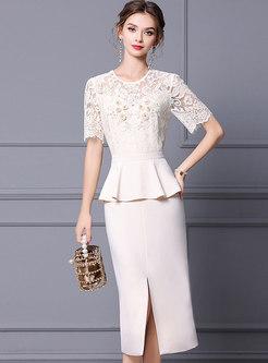 Brief Lace Openwork Ruffle Patchwork Bodycon Dress