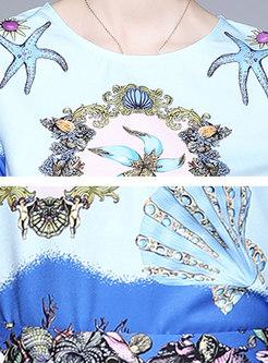 Crew Neck Sea Life Print Top Harem Pant Suits