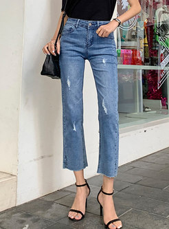High Waisted Straight Capri Ripped Jeans