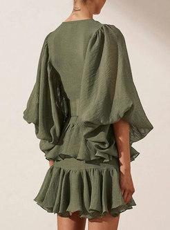 V-neck Lantern Sleeve Ruffle Layer Mini Dress