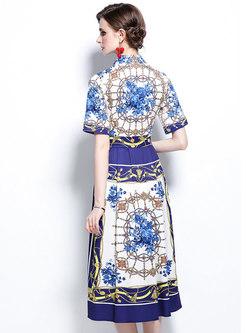 Turn-down Collar Vintage Print Maxi Dress