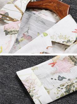 Notched Collar Chiffon Print Drawstring Trench Coat