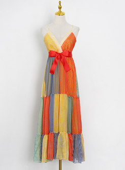 Boho V-neck Striped Patchwork Polka Dot Maxi Dress