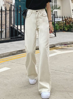 Brief Casual High Waisted Long Straight Jeans
