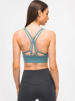 Solid Back Cross Shockproof Yoga Bra