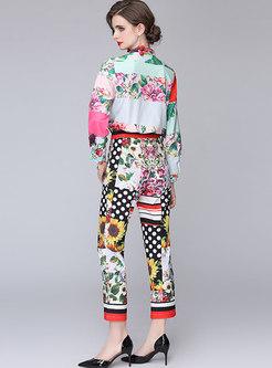 Retro Bowknot Print Blouse & High Waisted Capri Pants