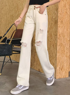 Beige Summer Ripped Straight Jeans