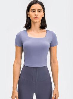 Square Neck Tight Pullover Short Yoga Top