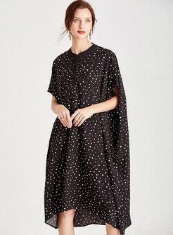 Plus Size Polka Dot Shift Dress With Pockets