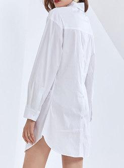 White Turn-down Collar Openwork Ruched Shirt Dress