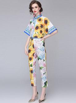 Casual Asymmetric Print Blouse & High Waisted Slim Pants