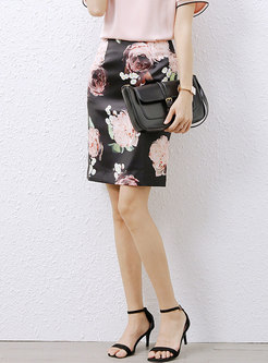 Black High Waisted Print Sheath Mini Skirt