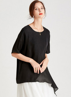 Brief Solid Pullover Plus Size Asymmetric T-shirt