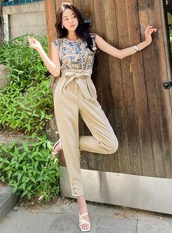 Print Sleeveless Top Khaki Harem Pant Suits
