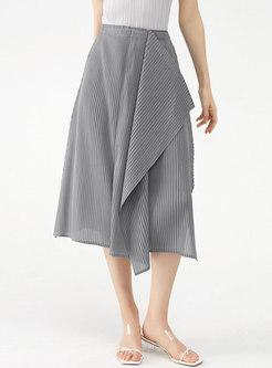 Solid High Waisted Asymmetric A Line Midi Skirt