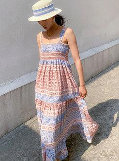 Boho Square Neck Print Big Hem Maxi Dress