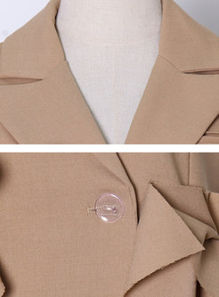 Sleeveless Lapel Ruffle Irregular Top Short Pant Suits