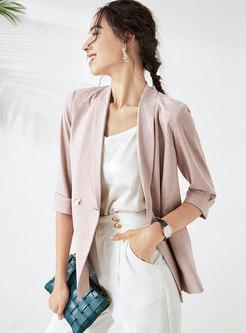 Work Notched Collar Button-down Blazer