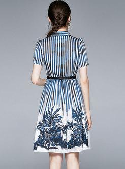 Casual Turn-down Collar Striped Print Shirt Dress