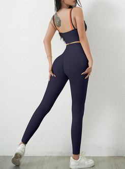 Sexy Color-blocked Tight High Waisted Yoga Tracksuit