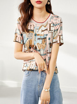 Crew Neck Letter Print Pullover Loose T-shirt