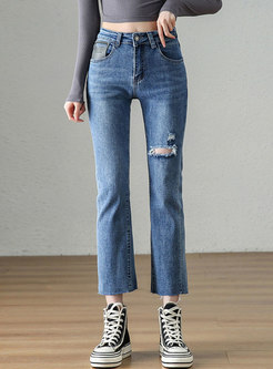 Casual High Waisted Straight Ripped Jeans