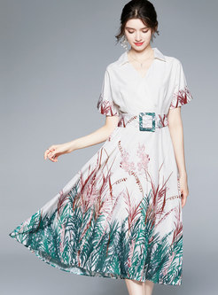 Casual Print Half Sleeve Belted Maxi Dress