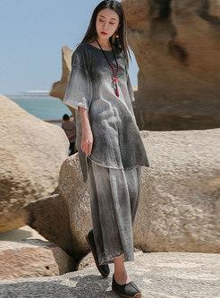 Casual Plus Size Half Sleeve Spray Dye Tunic
