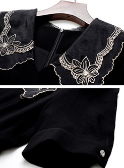 Black Puff Sleeve Embroidered Bodycon Dress