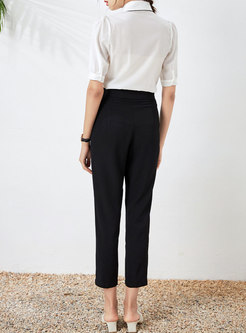 Court Turn-down Collar Blouse & High Waisted Capri Pants