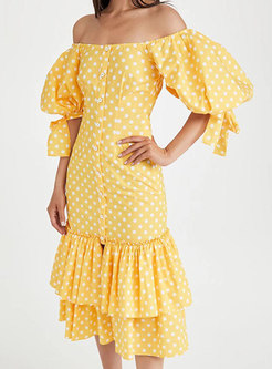 Yellow Slash Neck Dot Single-breasted Maxi Dress