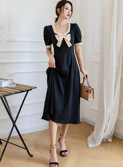 Square Neck Bowknot Patchwork A Line Midi Dress