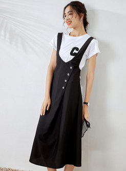 Letter Patch Embellished T-shirt & Striped Pinafore Dress