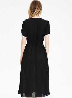 Solid Square Neck Brief A Line Dress