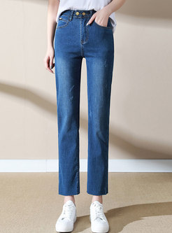 Blue Double Button Washed Straight Jeans