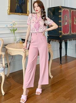 Sweet Print Blouse & Pink Wide Leg Pants