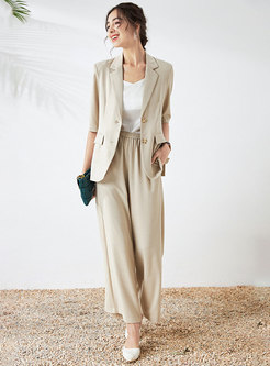 Solid Half Sleeve Blazer & Wide Leg Pants