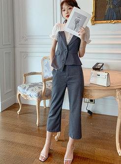 Mock Neck Color-blocked Patchwork Work Pant Suits